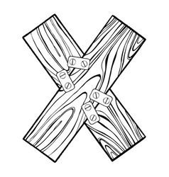wooden letter x engraving vector image