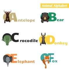 Animal alphabet set 1 vector image