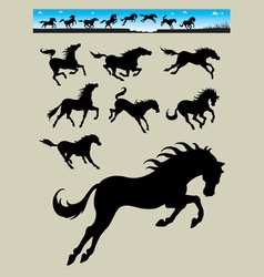 Horse running silhouettes 2 vector