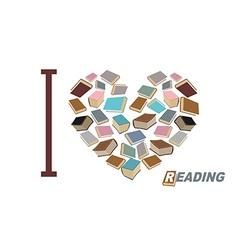 I love to read Symbol heart of book reading Many vector image