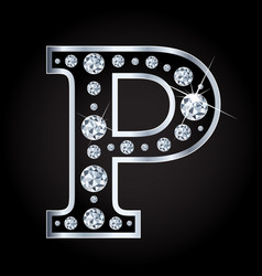 p letter made with diamonds isolated on vector image vector image