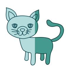 aquamarine hand drawn silhouette of cat vector image