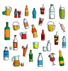 Beverages cocktails and drinks sketches vector image