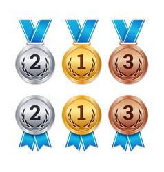 isolated gold silver and bronze medals vector image