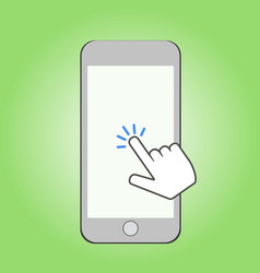 smartphone and click cursor finger sign click vector image vector image