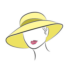 beautiful elegant lady in the yellow beach hat vector image vector image