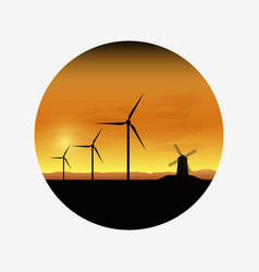 electric wind turbines farm silhouettes on sun vector image