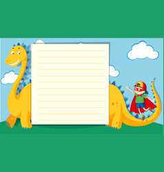 Paper template with boy and dragon vector