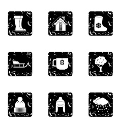 Season winter icons set grunge style vector image vector image