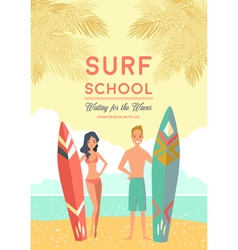 Surf School Poster vector image vector image