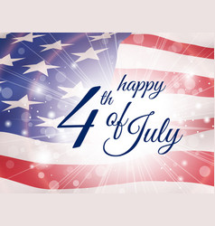 happy fourth july poster with flying flag of usa vector image