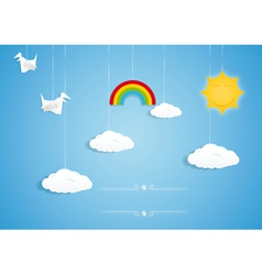 Rainbow clouds birds and sun toys vector image vector image