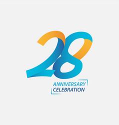 28 year anniversary celebration template design vector