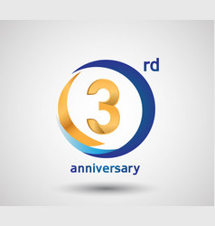 3 anniversary design with blue and golden circle vector