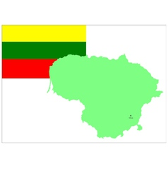 6210 lithuania map and flag vector image