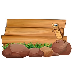 A cockroach above a rock with an empty wooden vector image