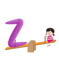 A Kid Leaning on a Letter Z vector