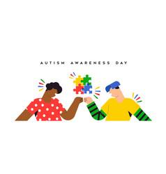 Autism awareness day friends fist bump banner vector
