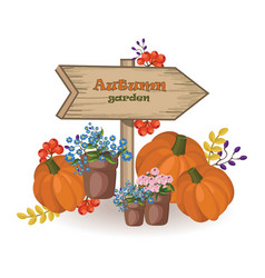 autumn garden decor wood sign pumpkin and vector image