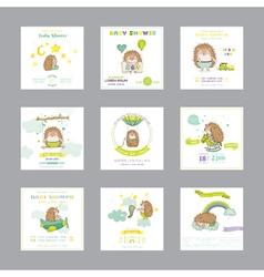 Baby shower card arrival card hedgehog vector