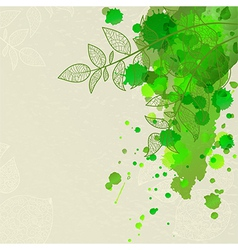 background with green blots and leaves vector image