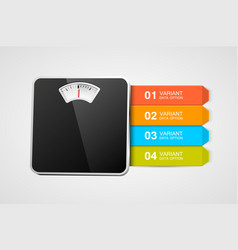 bathroom scale with infographics or steps steps vector image