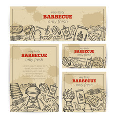 Bbq party template with meat chicken fish vector