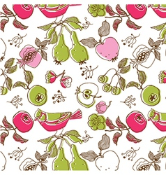 bird and fruit wallpaper vector image