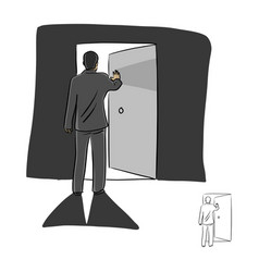 Businessman open the door with lighting inside vector