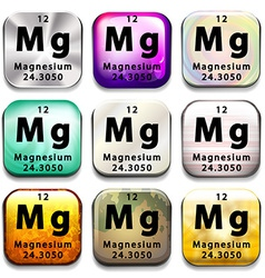 Buttons showing Magnesium and its abbreviation vector image
