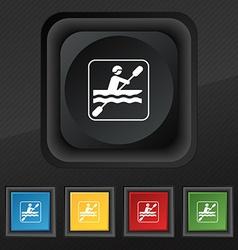 canoeing icon symbol Set of five colorful stylish vector image