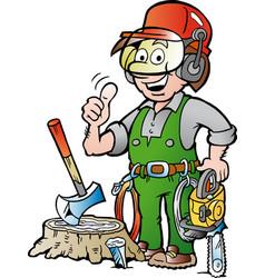 Cartoon a happy working lumberjack or vector