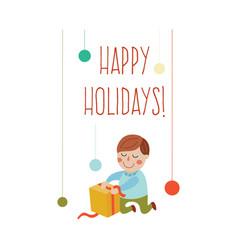 Cartoon boy opening present happy holiday vector