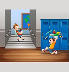 Cartoon boys carrying a school supplies vector