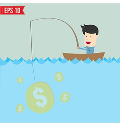 Cartoon businessman catching money in the sea - vector