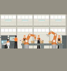Cartoon color smart factory inside interior vector