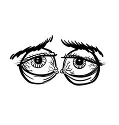 Cartoon image of tired eyes vector