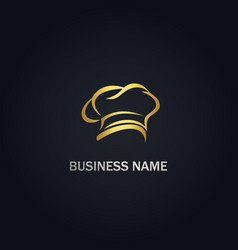 Chef hat abstract gold logo vector