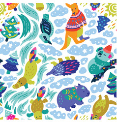 christmas australian animals endless background in vector image