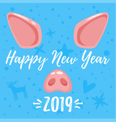christmas greeting card with pig vector image