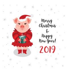 christmas pig greeting card merry christmas happy vector image