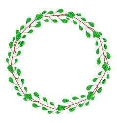 circle frame from green branches vector image