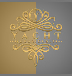 Classic luxurious letter y logo with embossed vector