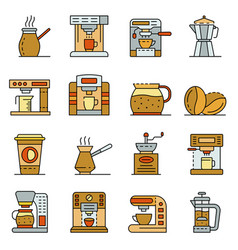 coffee maker icons set line color vector image