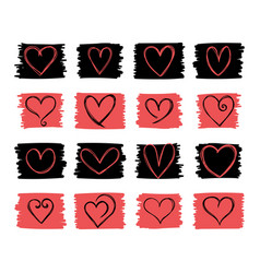 collection cute hand drawn hearts romantic vector image