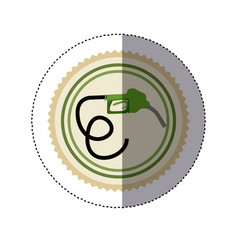 Color circular frame sticker with bio fuel hose vector