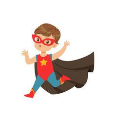 Comic cute brave kid in superhero costume running vector