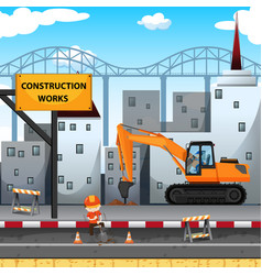 construction work site with worker and drill truck vector image