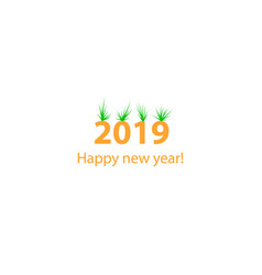 creative happy new year 2019 design with bushs vector image