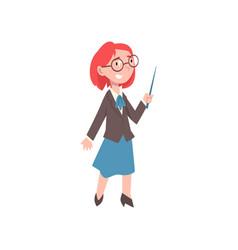 Cute girl dressed as teacher kids future vector